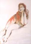 Weiblicher Akt, sitzend Farbe